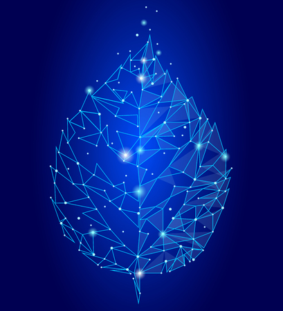 Connected dots point line triangle leaf. Eco nature concept blue background lights geometric poligonal low poly icon template vector illustration art