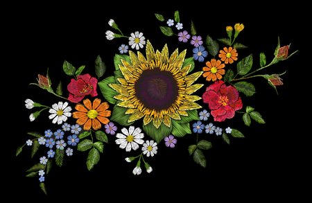 Embroidery flower bouquet sunflower dog rose briar daisy forget-me-not gerbera. Blooming field plant arrangement. Fashion patch stitch textile print on black background vector illustration art