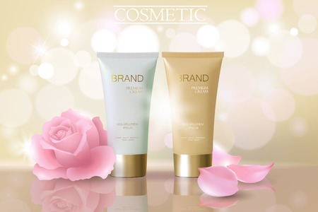 Delicate pink flower falling petals cosmetic ad. Beige white face cream rose blossom mask tube reflection package mockup blurred defocused shiny background template vector promoting illustration art 矢量图像