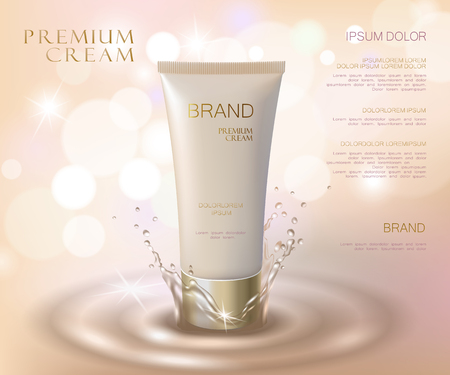 Moisturizing effect cosmetic tone ad template. Oil water splash drop 3d delicate soft realistic vector illustration. Promoting banner beige marketing background art