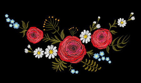 Red Ranunculus buttercup herb field flower. Vintage postcard. Traditional embroidery floral pattern. Vector folk fashion ornament black background.Patch textile sticker illustration art