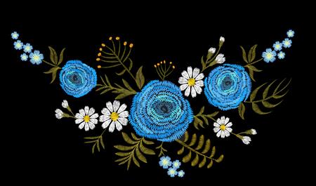 Blue Ranunculus buttercup herb field flower. Vintage postcard. Traditional embroidery floral pattern. Vector folk fashion ornament black background.Patch textile sticker illustration art Illustration