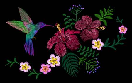 Hawaii flower embroidery arrangement patch. Fashion print decoration plumeria hibiscus palm leaves. Tropical exotic blooming bird hummingbird vector illustration art