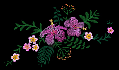 Hawaii flower embroidery arrangement patch. Illustration