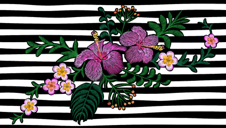 Hawaii flower embroidery on black and white seamless stripe background. Illustration
