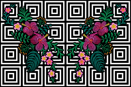 Flower reflection embroidery on black white seamless stripe background. Fashion print decoration plumeria hibiscus palm leaves. Tropical exotic blooming bouquet vector illustration art Illustration