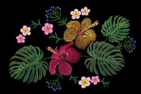 Tropical embroidery flower arrangement. Exotic plant blossom summer jungle. Fashion print textile patch. Hawaii hibiscus plumeria monstera vector illustration art. Illustration