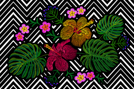 Tropical embroidery flower arrangement. Exotic plant blossom summer jungle. Fashion print textile patch. Hawaii hibiscus plumeria monstera geometric seamless stripe vector illustration art Illustration
