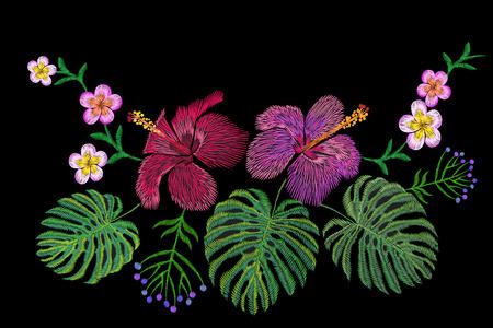 Tropical embroidery flower arrangement. Exotic plant blossom summer jungle. Fashion print textile patch. Hawaii hibiscus plumeria monstera vector illustration art Illustration