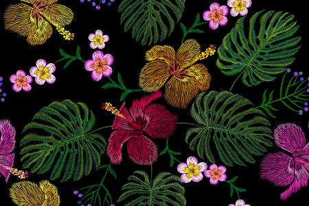 Tropical embroidery flower arrangement. Exotic plant blossom summer jungle. Fashion print textile patch. Hawaii hibiscus plumeria monstera seamless vector illustration art Illustration