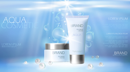 Aqua skin care creme cosmetic ad promoting poster template. Underwater deep sea blue sunlight ray pearls silver vector promo illustration 3d realistic background 일러스트