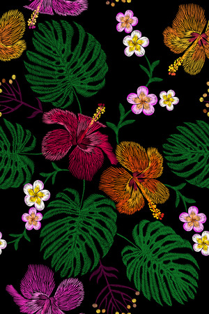 Tropical embroidery flower arrangement. Exotic plant blossom summer jungle. Fashion print textile patch. Hawaii hibiscus plumeria monstera seamless vector illustration
