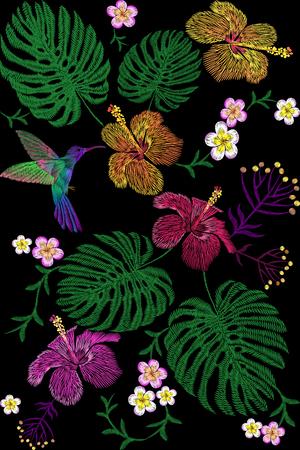 Tropical embroidery flower arrangement. Exotic plant blossom summer jungle. Fashion print textile patch. Hawaii hibiscus plumeria monstera hummingbird seamless vector illustration Illustration
