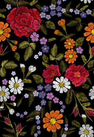 Embroidery flower rose poppy daisy gerbera herb sticker patch fashion seamless print textile vector illustration Illustration