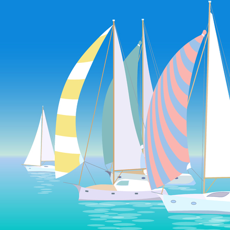 Yacht regatta on wave blue sea ocean. Sunny summer vacation travel adventure background. Striped colorful sail canvas white boats race transport vector illustration
