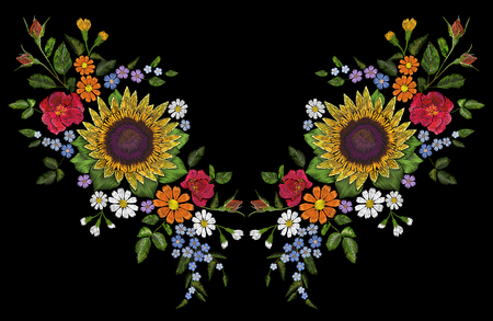 Sunflower field wild floral embroidery arrangement neckline decoration. Fashion textile floral clothing print.Colourful daisy small blue herb rose vector illustration Illustration