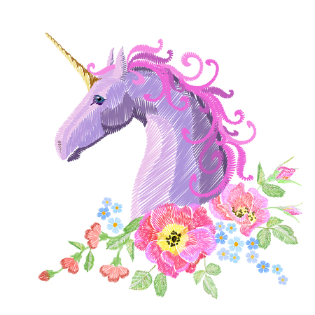 Magic Unicorn embroidery crewel patch sticker fabric print textile. Flower poppy arrangement stitch texture white background. Fantasy girl pink horse head vector illustration art Illustration