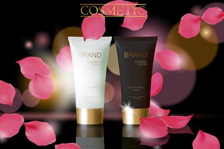 Black pearl cosmetic ad design template. Dark golden skin care package tube glass reflection. Rose petals defocuced background promotional banner vector illustration art