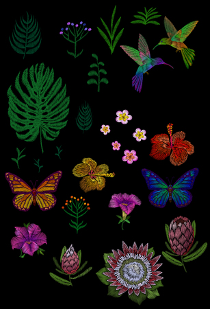 Custom tropic flower design. Set isolated exotic flower leaves plant, hummingbird butterfly. Monstera palm hibiscus petunia protea vintage embroidery patch sticker vector illustration art Illustration