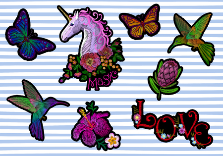 Set sticker badges embroidery patch. Unicorn flower hummingbird butterfly tropical exotic blossom floral icon. Protea hibiscus vector illustration collection art Illustration