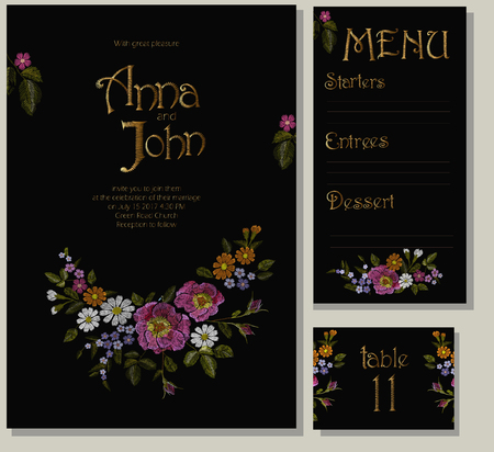 wedding table setting: Floral wedding cards design suite template. Rustic field flower wild rose daisy gerbera herbs. Invitation greeting card marriage menu table. Embroidery on black vector illustration art
