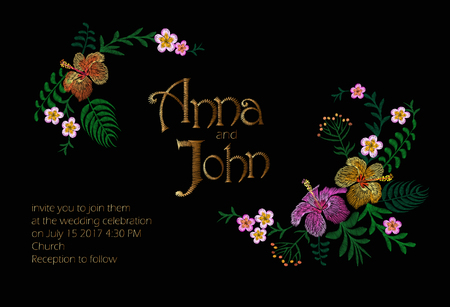 Wedding Invitation Design with Jungle Hawaii flowers. Save the Date Card with Tropical Exotic Palm Monstera Leaves. Hibiscus, Frangipani golden embroidery landscape horizontal vector illustration art