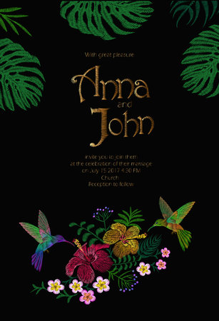 Wedding Invitation Design with Jungle Hawaii flowers. Save the Date Card with Tropical Exotic Palm Monstera Leaves. Hummingbird bird golden embroidery vector illustration art