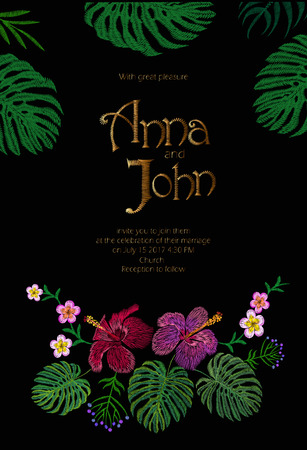Wedding Invitation Design with Jungle Hawaii flowers. Save the Date Card with Tropical Exotic Palm Monstera Leaves. Hibiscus, Plumeria, Frangipani golden embroidery vector illustration art
