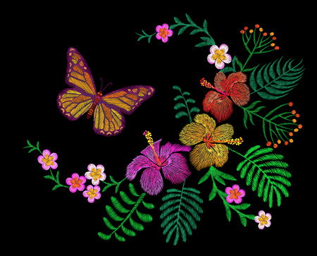 Hawaii flower embroidery arrangement patch. Fashion print decoration plumeria hibiscus palm leaves. Tropical exotic blooming bouquet butterfly vector illustration art