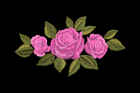 Embroidery pink rose. Fashion patch decoration sticker. Flower embroidered ornament arrangement. Traditional ethnic fabric textile print vector illustration art