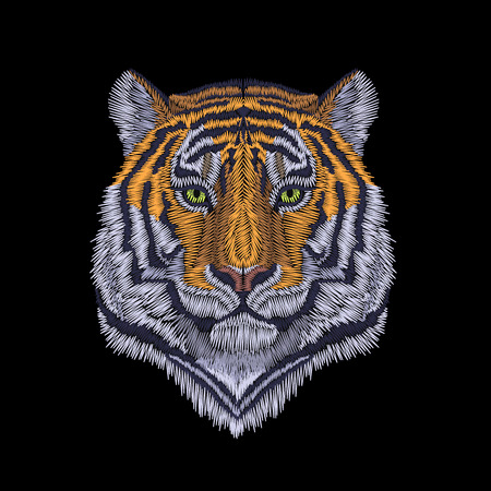 Tiger head noble staring. Front view embroidery patch sticker. Orange striped black wild animal stitch texture textile print. Jungle logo vector illustration art