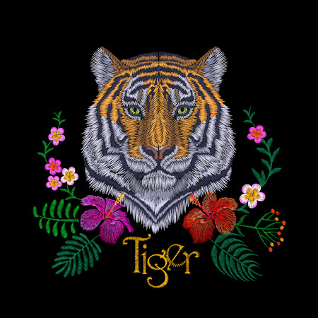 Tiger head tropic flower. Front view embroidery patch sticker. Orange striped black wild animal stitch texture textile print. Jungle logo vector illustration art
