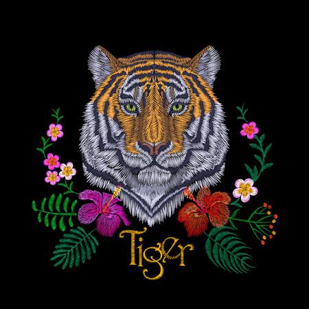 Tiger head tropic flower. Front view embroidery patch sticker. Orange striped black wild animal stitch texture textile print. Jungle logo vector illustration art