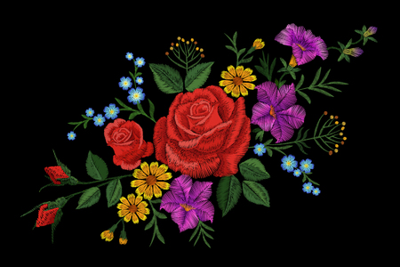 rose: Rose flower embroidery texture patch. Red field flower herb textile print neckline traditional decoration ornate vector illustration on black background art Illustration