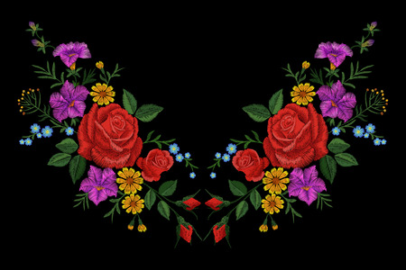 Rose flower embroidery texture patch. Red field flower herb textile print neckline traditional decoration ornate vector illustration on black background art Vectores