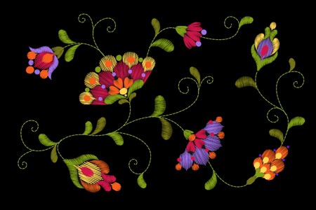 ribal flower embroidery crewel patch Bright red green colorful floral textile ornament Ornate vector illustration art Illustration