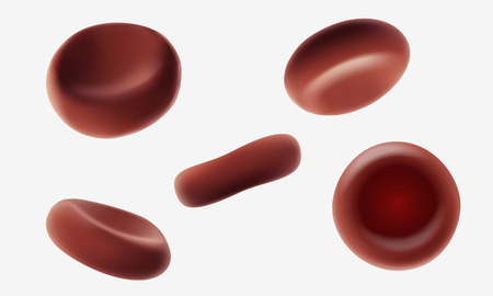 Red human blood cells erythrocytes flowing macro close up 3d realistic medical vector illustration. Isolated various angles on white background art