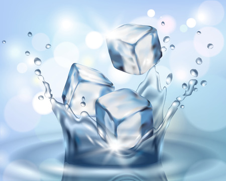 Realistic 3d ice cube falling in water splash. Cold water droplet blue color reflection background vector illustration art.