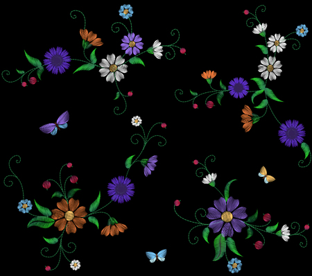 butterfly background: Floral blue violet daisy embroidery seamless pattern. Vintage Victorian flower ornament fashion textile decoration. Stitch texture vector illustration art