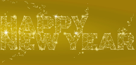 metal mesh: Geometric polygonal 2018 New Year Greeting card. Low poly triangle future technology yellow golden metalic background. Corporate business design vector illustration art Illustration