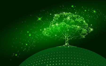 Árbol poligonal sobre fondo de cielo verde oscuro. Concepto abstracto del globo de la tierra del eco. Arte conectado de la ilustración del vector de la raíz de la vida del arte del punto de la línea del punto