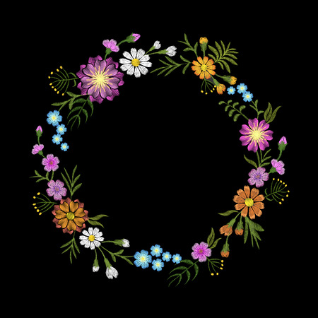 Floral blue violet daisy embroidery round arrangement. Vintage Victorian flower ornament fashion textile decoration. Stitch texture vector illustration