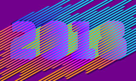 Bright stripe 2018 New Year number. Disco retro trendy style design. Parallel neon color line. Gradient vibrant shadow illusion vector illustration Vectores