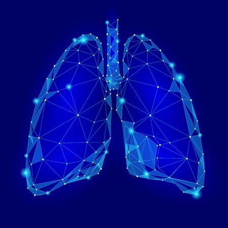 Poumons d'organes internes humains. Conception de la technologie Low Poly. Pointes en triangle polygonale couleur bleue connectées. Médecine de santé icône illustration vectorielle de fond Vecteurs