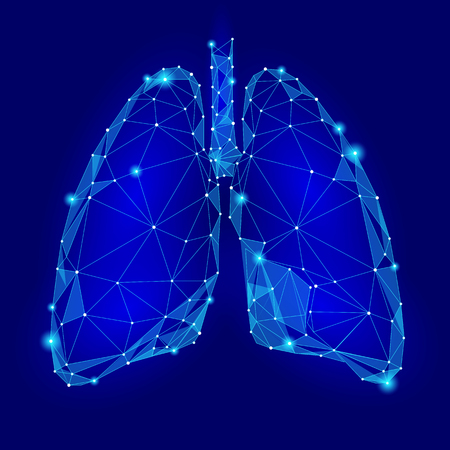Human Internal Organ Lungs. Low Poly technology design. Blue color polygonal triangle connected dots. Health medicine icon background vector illustration Vectores