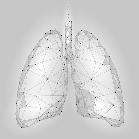 Pulmones de órganos internos humanos. Diseño de baja tecnología Poly. Blanco Triángulo poligonal de color gris conectado puntos. Medicina de la salud icono de fondo ilustración vectorial