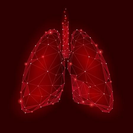 Menselijke inwendige orgaanlongen. Low Poly technologieontwerp. Rode kleur veelhoekige driehoek verbonden stippen. Gezondheid geneeskunde pictogram achtergrond vector illustratie