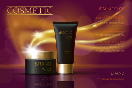 glass reflection: Golden black skincare cream package cosmetics ads. Realistic 3d vector illustration promotion poster. Flying delicate defocused glowing wave swirl background template art Illustration