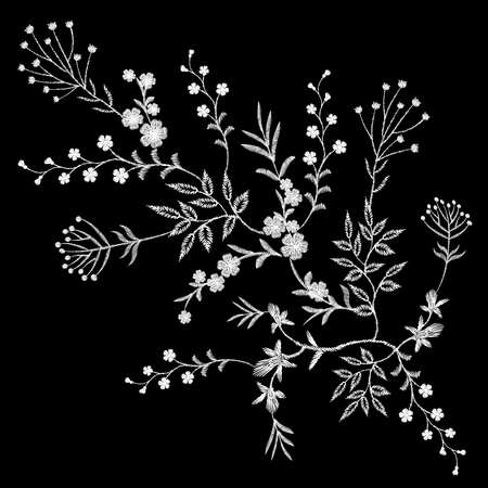 twigs: Embroidery white lace floral pattern small branches wild herb with little blue violet field flower. Ornate traditional folk fashion patch design black background vector illustration art