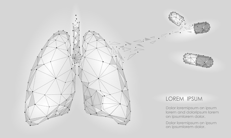 Human Internal Organ Lungs Medicine Treatment Drug. Low Poly technology design. White Gray color polygonal triangle connected dots. Health medicine icon background vector illustration art Stock Illustratie